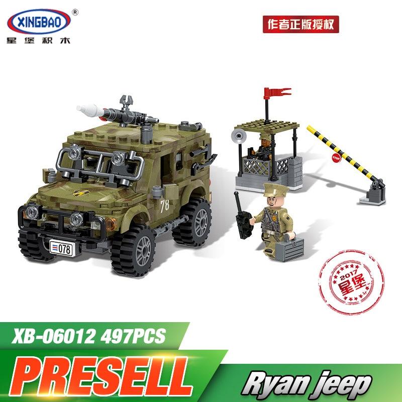 все цены на  XINGBAO 06012 Genuine 497Pcs Military Series The Ryan Car Set Building Blocks Bricks Toys Educational Funny Christmas Boy Gifts  онлайн