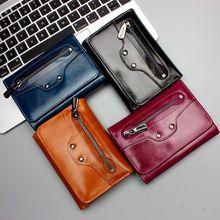 Shine Cowhide Oil Genuine Leather Locomotive Style Women Wallet Purse Large Capacity Zipper Design Coin Pocket Money Bag