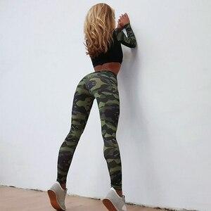 Image 4 - יוגה סט אישה ספורט כושר ספורט חליפת אימונית נשים הסוואה דחוס יוגה חותלות אימון בגדי כושר בגדים