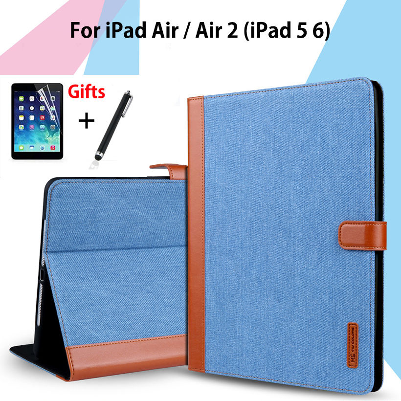 Slim Case For Apple iPad air air2 ipad 5 6 Smart Cover cowboy PU Leather Soft Silicone Folio Stand Protective Shell+Film+Pen for apple ipad air 2 pu leather case luxury silk pattern stand smart cover