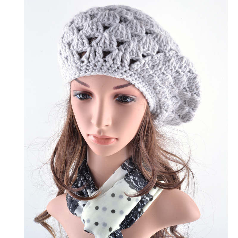 f3d2cbae5dda7 Fashion autumn hats for women's beret braided baggy knitted wool beanie  crochet warm winter hat bone