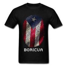 Camiseta con bandera de Puerto Rico para hombre, Tops con huella digital, camisetas Vintage a rayas, ropa de algodón 100%, negro y rojo