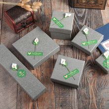 12 Pieces/Lot High Quality Grey Jewelry Box Greenish Lily Flower Kraft Paper Favour Bulk Gift Boxes Bag Necklace Bracelet
