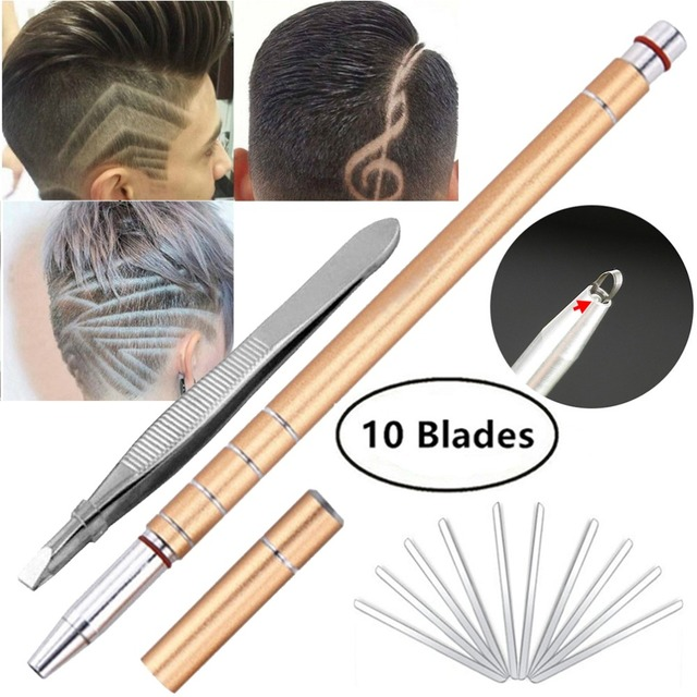 Gold Hair Tattoo Trim Styling Razor Pen Face Eyebrow Shaping Device