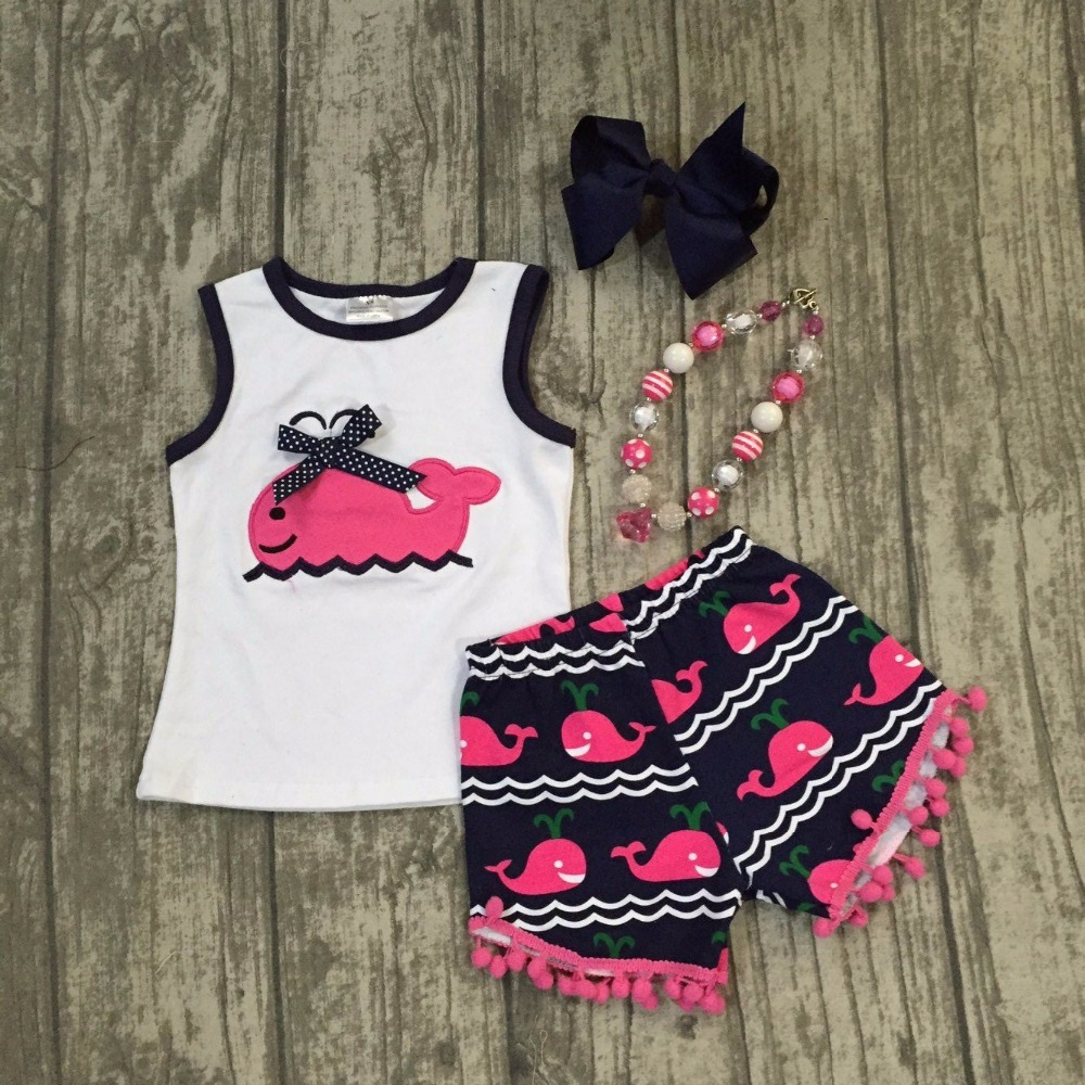 baby Girls Summer clothes baby girls whale outfits girls hot pink whale summer shorts clothing Girl Clothes with accessories