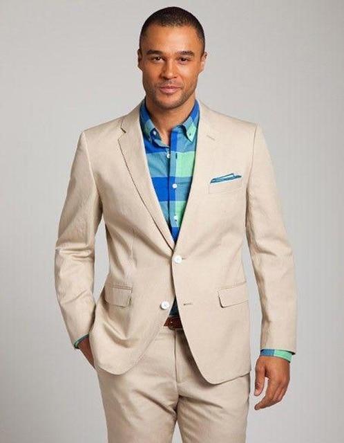 Custom Linen Men Suits Beige Mens Wedding Suits Tuxedos Notched ...