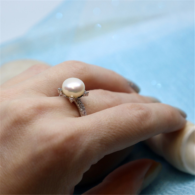 2019 Sale Shiny Design Genuine Pearl Ring 925 Silver Ring 9.5-10mm Freshwater Pearl Ring