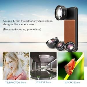Image 2 - APEXEL 17 millimetri Filo Lenti Cassa Del Telefono Professionale Per Il Mobile In Lega di Alluminio + Cassa di Cuoio Del Telefono per il iPhone Samsung Huawei xiaomi