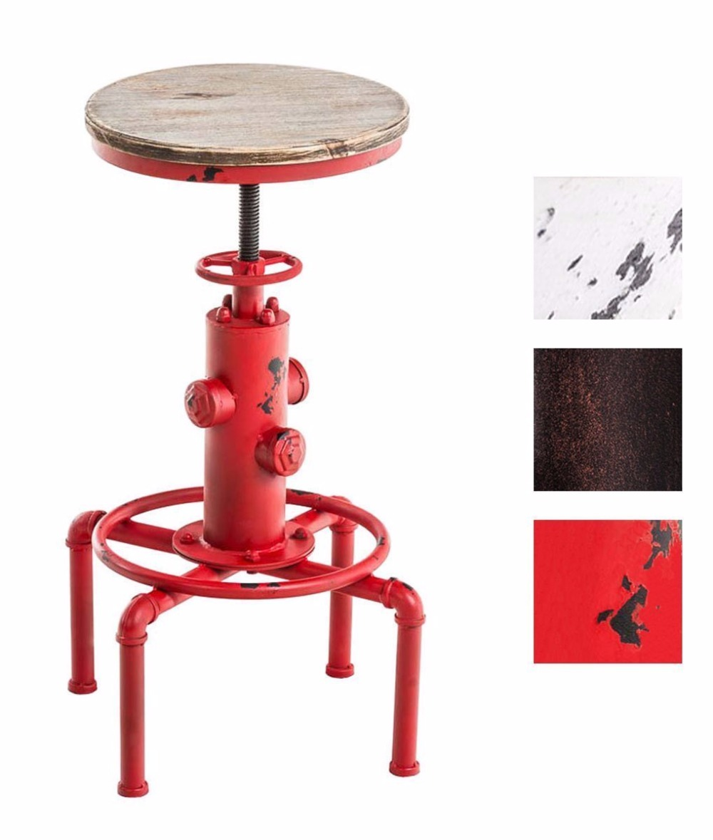 Red Metal Industrial Bar Stool Chair Kitchen Dining Chair Barstool Footrest Swivel Pinewood Top Height Adjustable