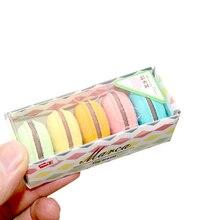 Borrador de lápiz de goma, 8 paquetes por lote, Color caramelo, 3D, macarrones, mejor socio para la corrección de dibujo, papelería, al por mayor
