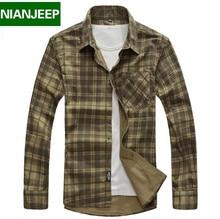 Бренд мужской рубашки Nianjeep плед новый длинным рукавом случайные плед мужские рубашки свободную одежду 100% Cottonfor весной и осенью