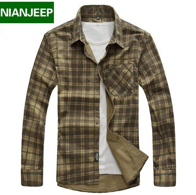 Camisas dos homens da marca nianjeep roupas xadrez camisa de manga comprida casual masculino solta 100% algodão nova 2017 primavera e no outono