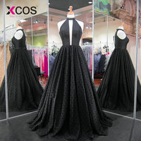 XCOS 2018 New Arrival Black Prom Dresses Tulle A Ling vestidos de festa Evening Dresses Long Beads abendkleider