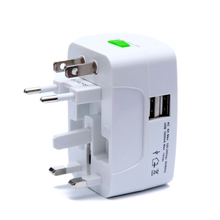 All in One Universal International Plug Adapter 2 USB Port World Travel AC Power Charger Adapter AU US UK EU Converter