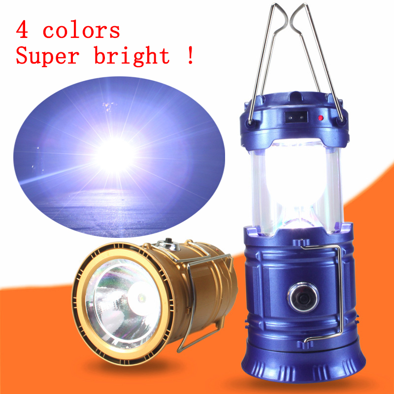 Portable 6LED Outdoor Emergency Solar Charging Camping Lamp 2 In 1 Flashlight Hand Lamp Outdoor Hiking Lanterns Tent Lights