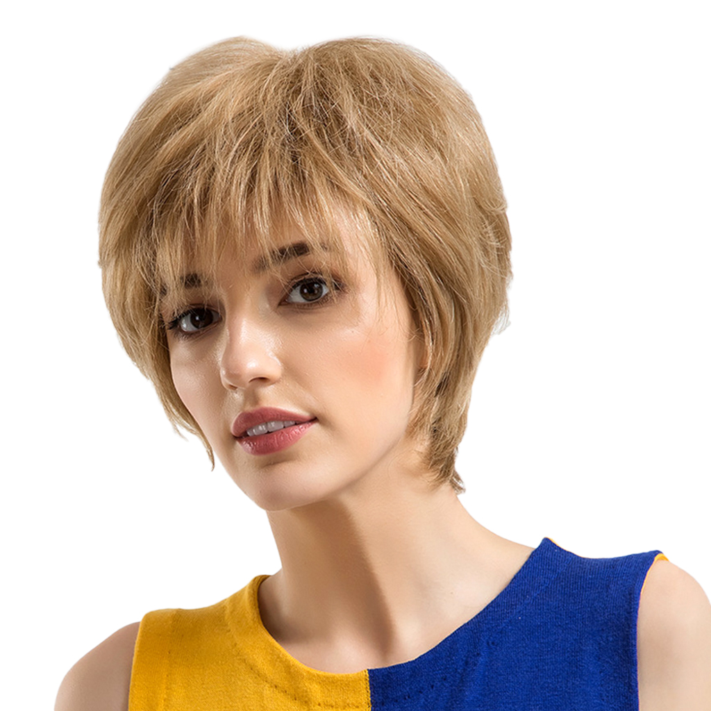 10 Inch Short Blond Beautiful Fashion Wigs Real Human Hair Bob Style for Women Heat Ok fashion short side bang synthetic bob style straight capless adiors wig for women