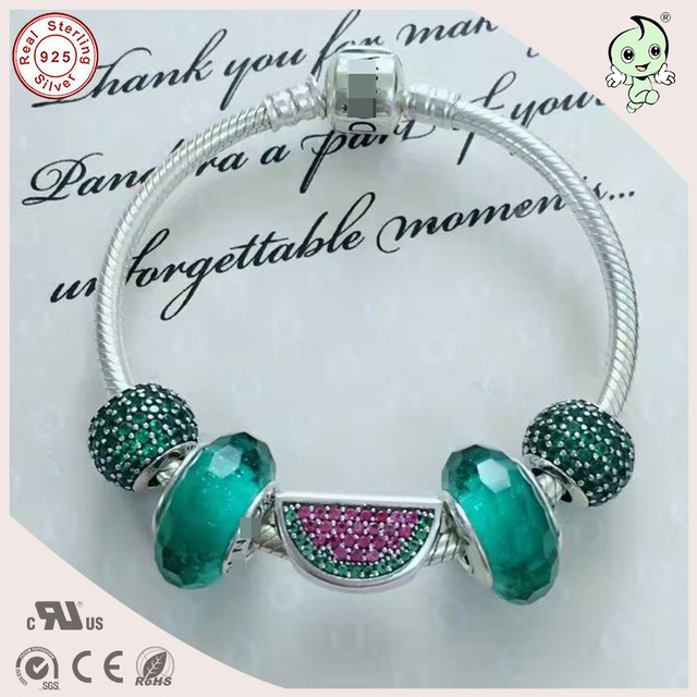 Top Quality Fashion Fitting Original Famous Brand Refreshing Silver Green Murano And Watermelon Charm 925 Real Silver Bracelet