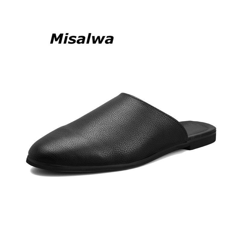 Misalwa New Fashion Summer Arrival Leather Sandals Loafers Men Shoes Breathable Flats Pointed Toe Slippers Zapatos Hombre