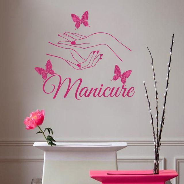 Online Shop Custom Beauty Hair Salon Nail butterfly Wall stickers ...