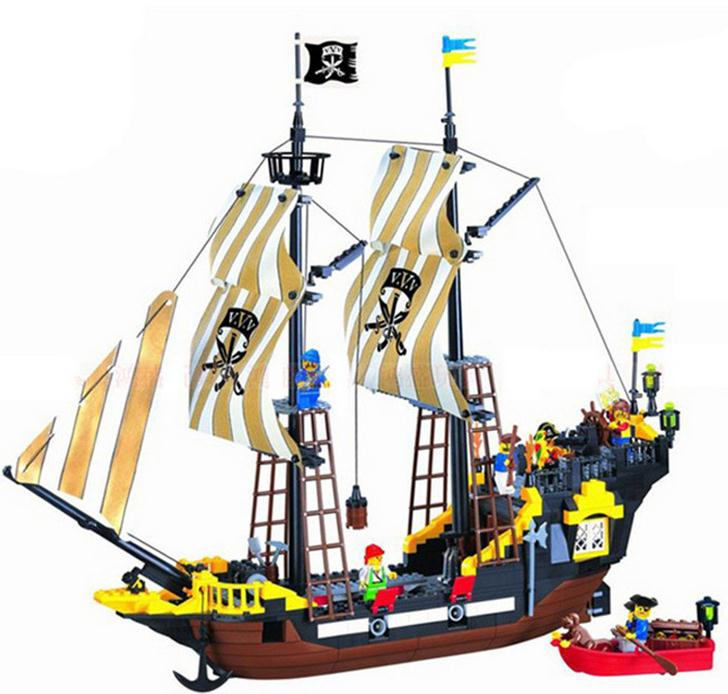 Hot Bricks Adventures pirate ship big building block set large construction kid intellectual assembling toy gift Kids Toys susengo pirate model toy pirate ship 857pcs building block large vessels figures kids children gift compatible with lepin