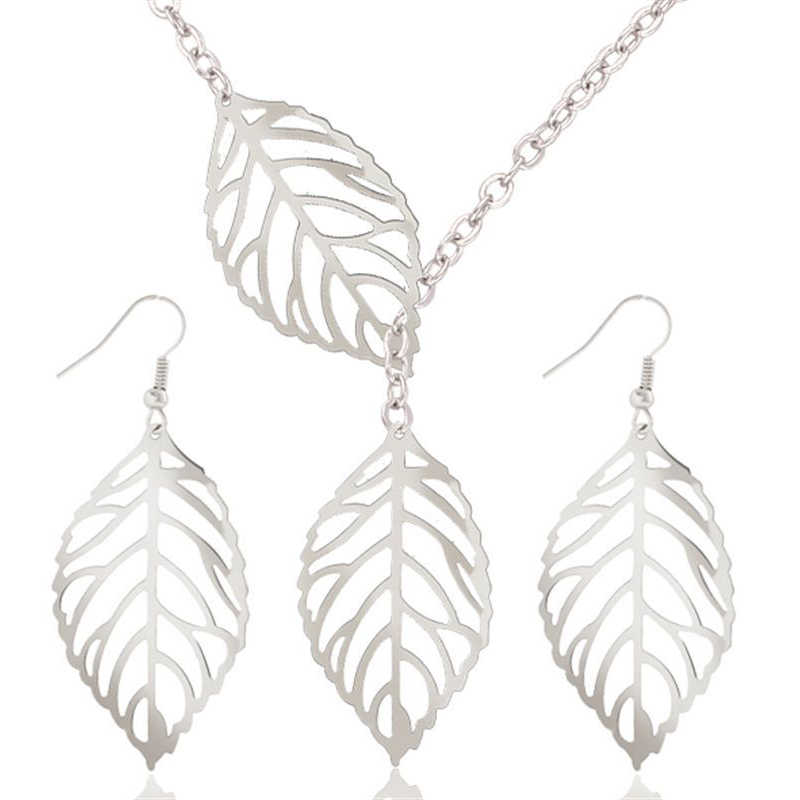1 Set Leaves Silver/ Gold Colour Hollow Dangle Drop Earrings Necklace Jewelry Sets Nice Gift for Women Lady Children