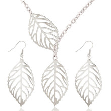 1 Set Leaves Silver/ Gold Colour Hollow Dangle Drop Earrings Necklace Jewelry Sets Nice Gift for Women Lady Children(China)