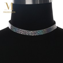 1 Piece New Glitter two-sided Laser Choker Necklace Holographic thin PU Fashion choker collar Handmade necklace for Women(China)
