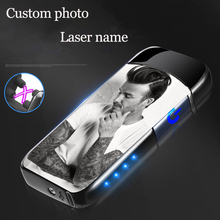 USB Electric Double Arc Lighter Rechargeable Power Display Touch sensing  Dual Thunder Pulse Cross Plasma