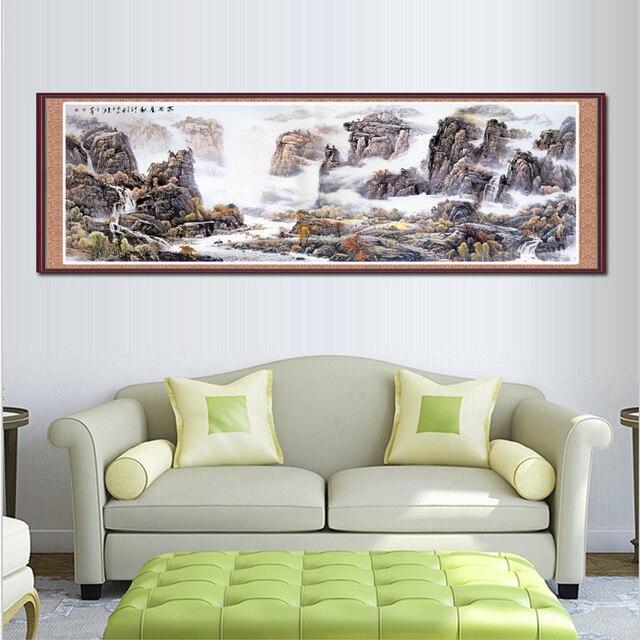 Lange Muur Decoreren.Lange Canvaskunst Chinese Stijl Landschapsschilderkunst Klassieke