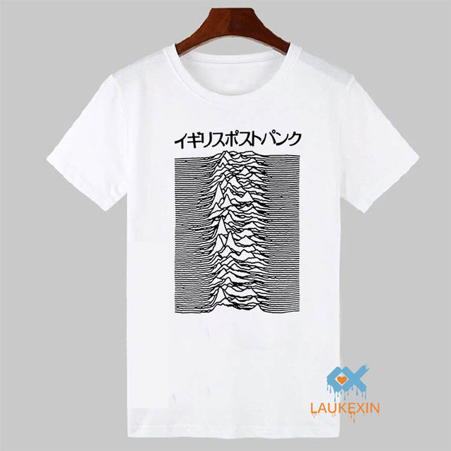 Pulsar Art used by Joy Division on Unknown Pleasures T Shirt Post Punk Japanese Tees Shirt 100% Cotton Tshirt For Men Women
