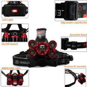Image 3 - Led ヘッドランプ 5 * T6 のためヘッドライト 4 モードトーチヘッドランプ懐中電灯キャンプライト + 2*18650 バッテリー + ac/dc 充電器 + ボックス