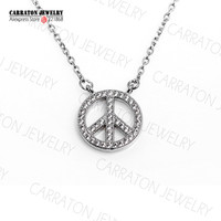 Carraton NSHC1007 White Gold Finish Silver Jewellery Trendy Genuine 925 Sterling Silver Bling CZ Peace Sign