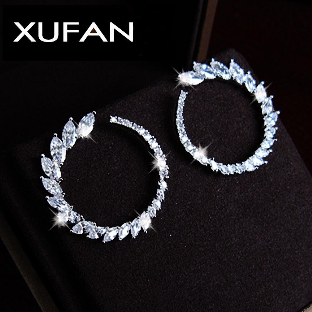 Fashion Women Olive CZ Ston Stud Earrings High Quality AAA Clear Cubic Zirconia Flower Earrings Dropshipping XUF112