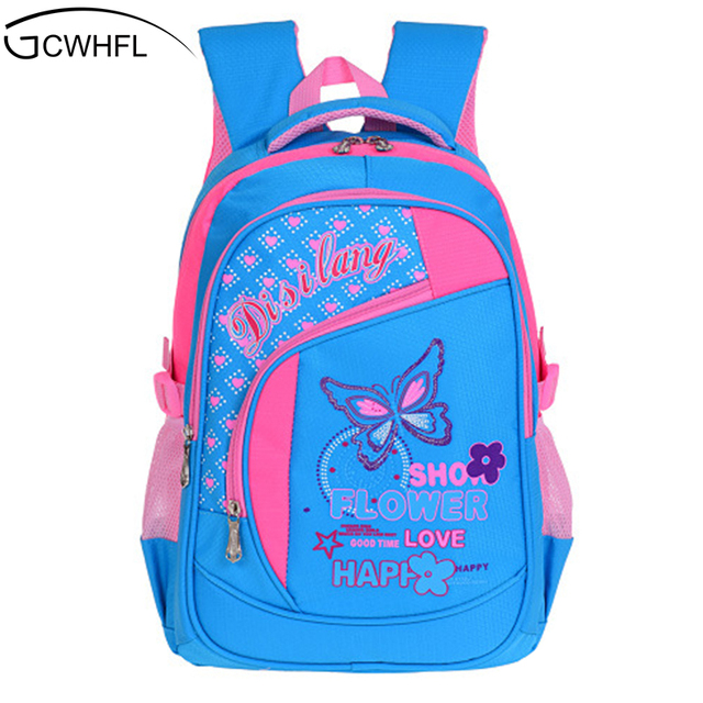 27b2efe143b5 GCWHFL Children School Bags For Girls Backpacks Butterfly Design Boys  Waterproof Schoolbag Primary Backpack Kids Bags