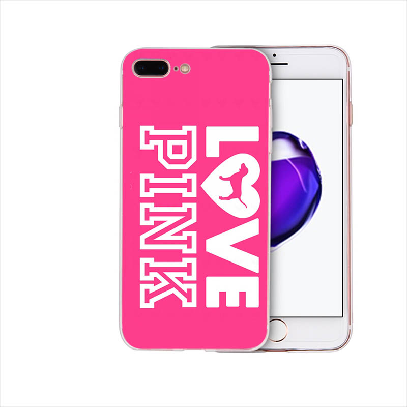 Fashion pink fashion trend soft silicone phone case for iphone xr x xs max Funda 6 6s 7 8 plus 5s se 5 TPU cover cute girl shell in Half wrapped Cases from Cellphones Telecommunications