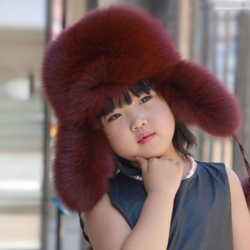 Russia Boys Girls Real Fox Fur Hat Children Warm Winter Fur Hat 9 Colour Caps Warm Ears for 3-16years Parent-child cap Hat H#26 new children rabbit fur knitted hat winter warm fur hats scarf boys grils real fur beanies cap natural fur hat for kids h 26