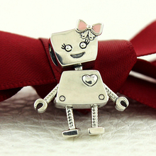 ROCKART Real 925 Sterling Silver Robot Charm With Pink Enamel Dangle Fits European Bracelets Bangles DIY Bead Fine Jewelry