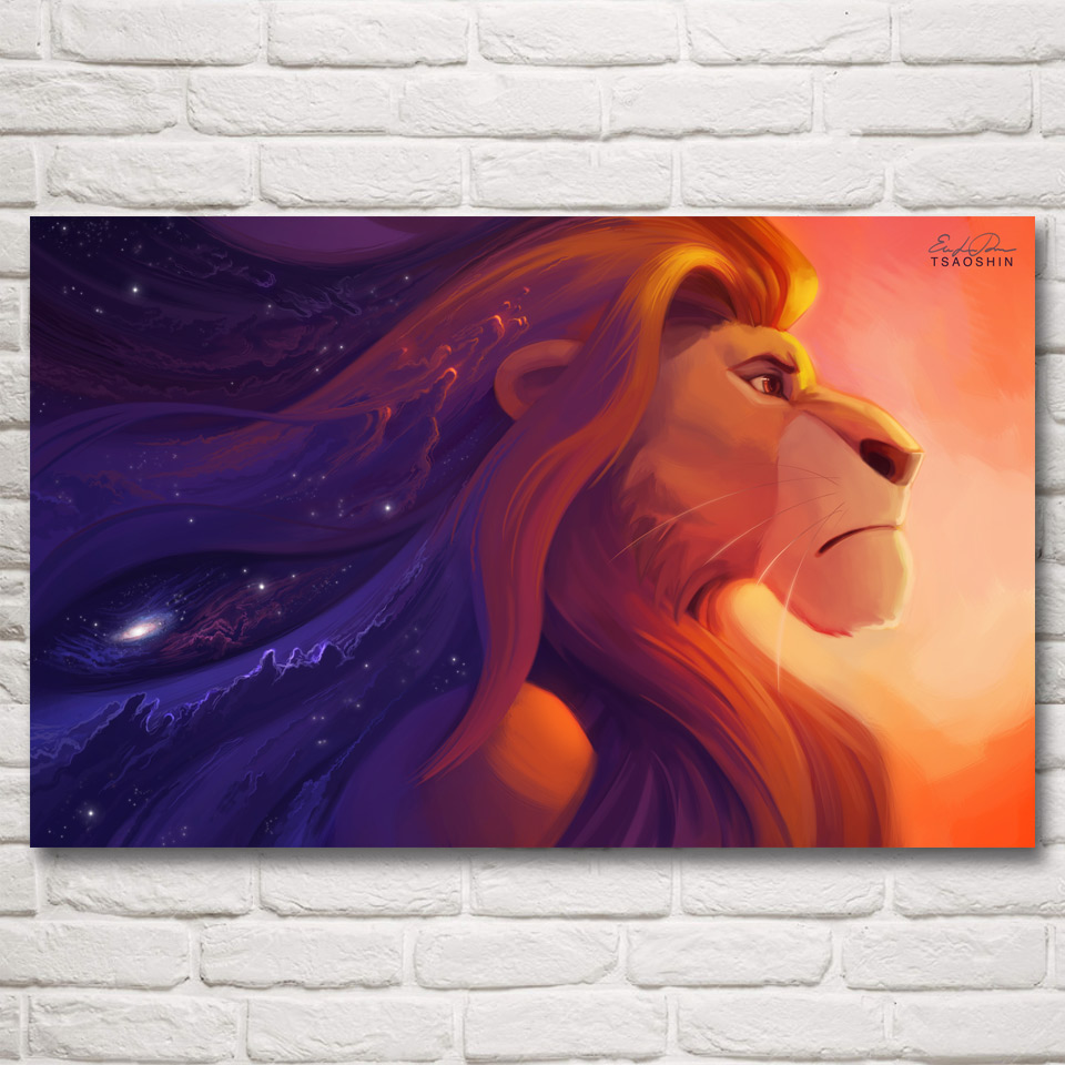the lion king movie art silk fabric poster prints home wall decor pictures painting 12x19 15x24