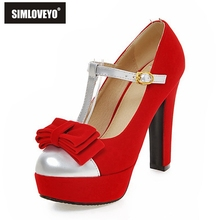 SIMLOVEYO Women Round Toe Platform Party High Heel Shoes Ladies T Strap  Thick Heel Pumps Size. 2 Colors Available fe5ee99daad1
