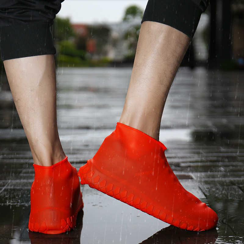 Funda de zapatos gruesos de Gel de silicona impermeable para la lluvia cubre zapatos de goma reutilizables de elasticidad antideslizantes para botas Prot