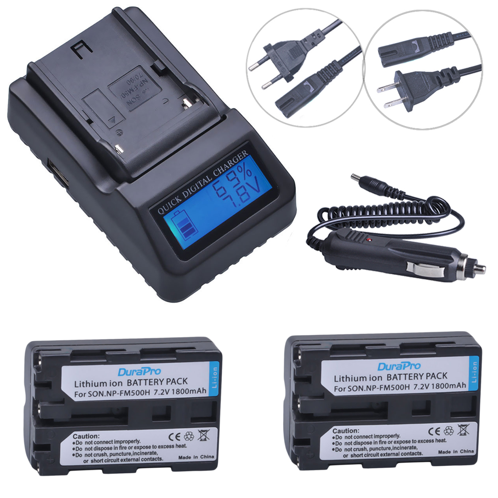 2pc 7.2V NP-FM500H NP FM500H Rechargeable Camera Battery + LCD Quick Charger For Sony FM500H A57 A65 A77 A99 A350 A550 A580 A900