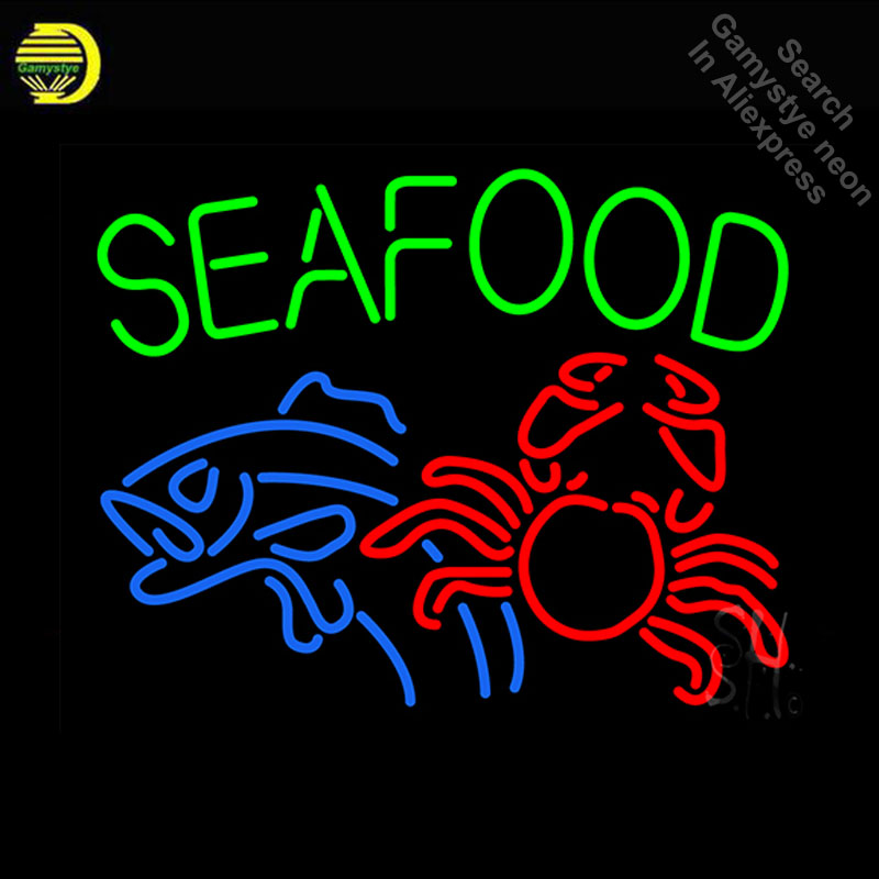 Neon Sign for Seafood Fish And Crab Neon Bulb sign handcraft Real Glass tube Decorate business Restaurant windows Dropshipping