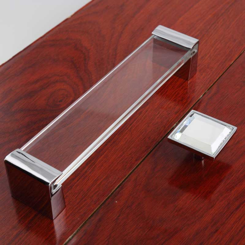 160mm Top Quality Fashion Deluxe Glass Crystal Wardrobe Dresser Kitchen  Cabinet Door Handle Knob Square Silver