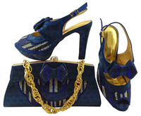 Latest water green shoes matching bags series with bowtie african lady shoes and handbag set for dress MM1038,heel 11CM