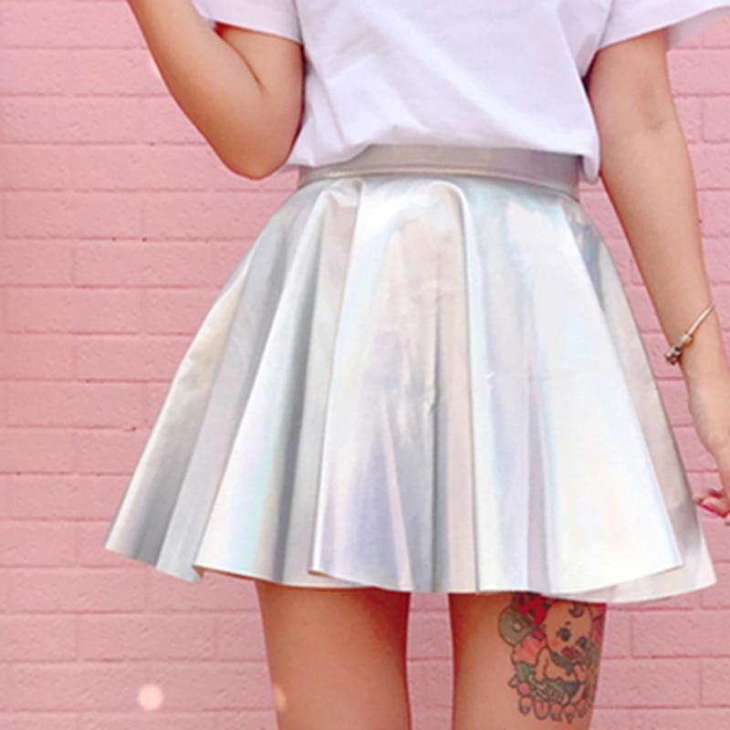 Holografiska pläterade kjolar Kvinnor PU Solid Harajuku Casual Sexy - Damkläder - Foto 5