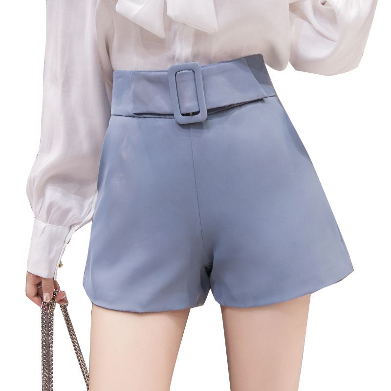 2019 summer korean high waist   shorts   women ladies elegant slim chiffon women   shorts   belted a line   short   feminino blue pink black