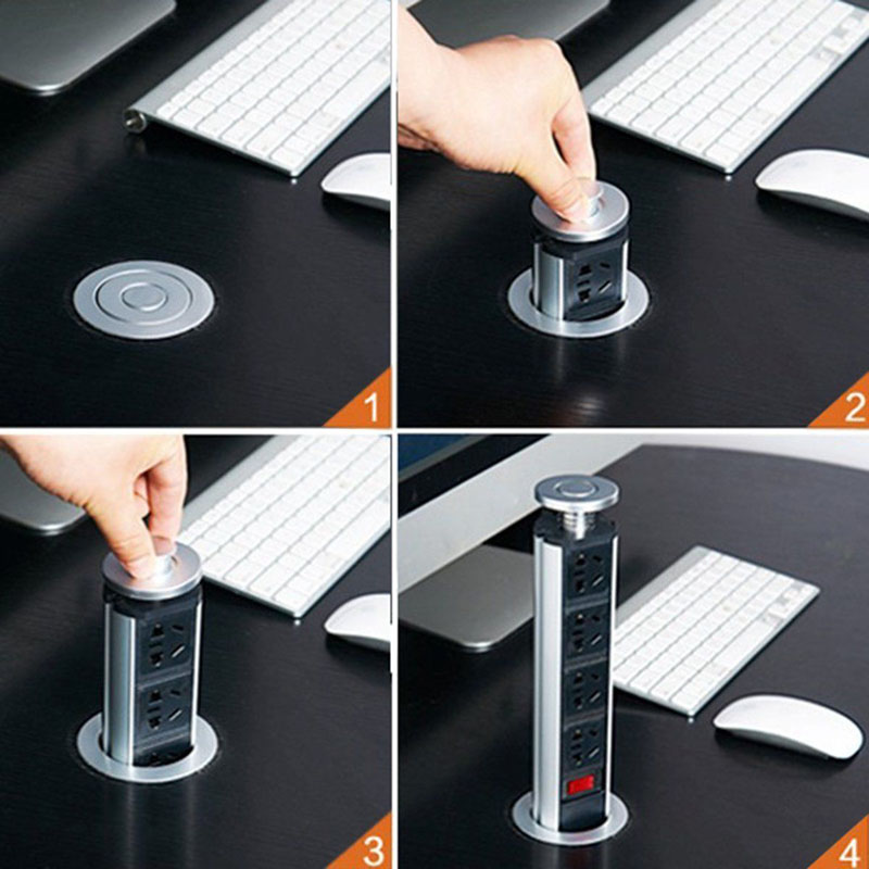 New Arrived US/EU Plug Pulling Pop Up Electrical 3 Plug Socket 2 USB Kitchen Table Socke ...