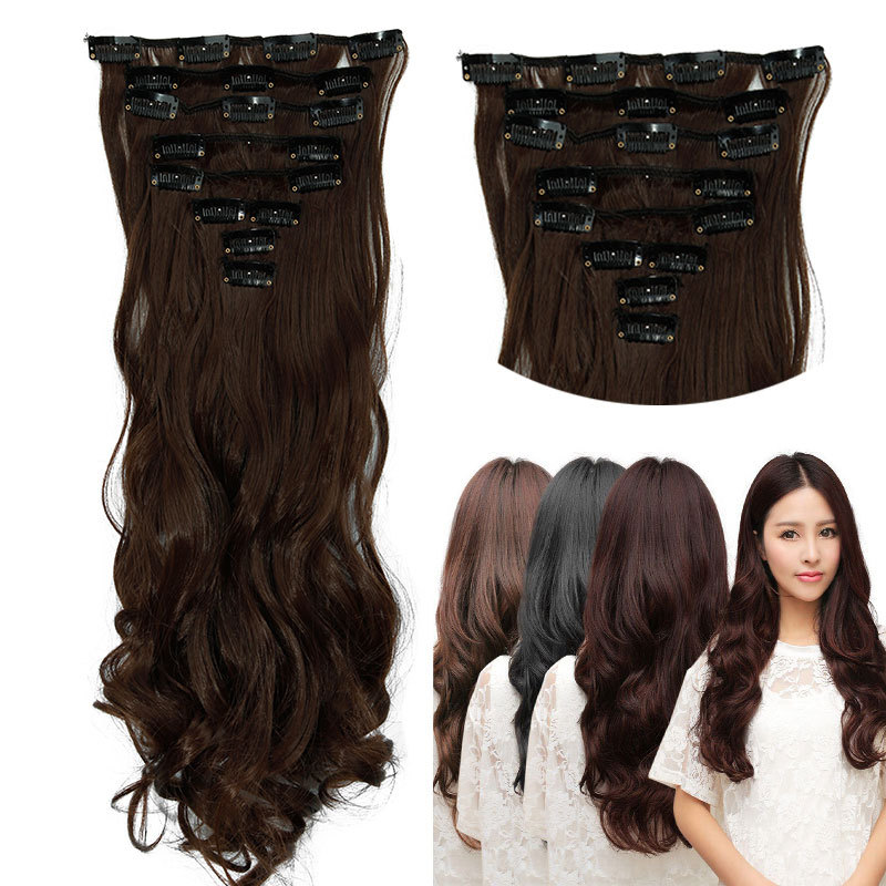 Best Quality Synthetic Hair Clip In Hair Extensions Ash Blonde Brown