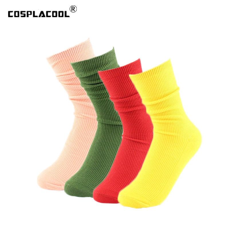 [COSPLACOOL]Women Harajuku Cute Colorful   Socks   Korean Long Heap Heap Sokken Warm Art Red Green Yellow Calcetines Mujer Sox