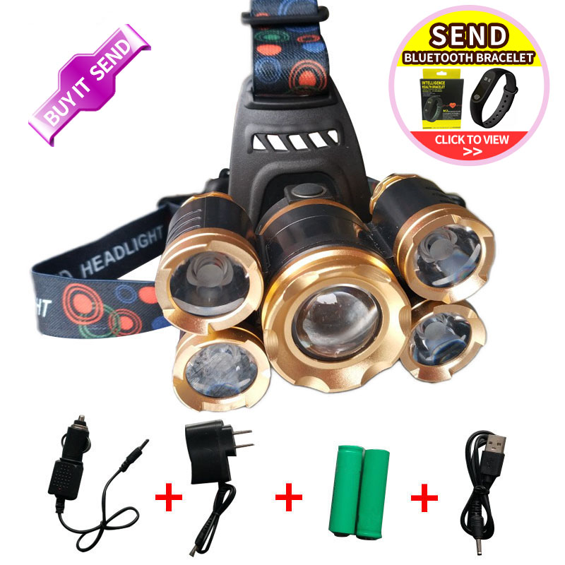 T6+XPE LED Head Lamp 20000 lm Zoom able Headlamp 5 led Headlight Tube Torch LED Flashlight Car Charger 18650 Batteries EU/US/84 t6 xpe led head lamp 50w zoomable headlamp 5leds headlight tube torch led flashlight car charger 18650 batteries high lights